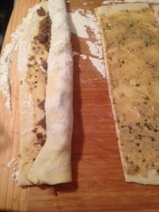 sausage rolls cut