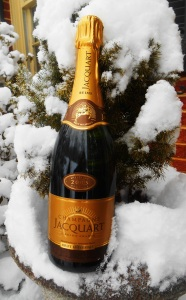 champagne bottle snow 2