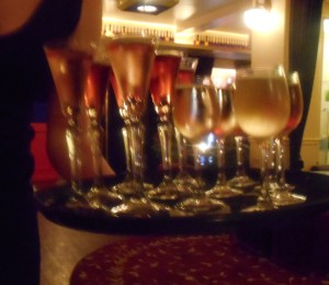 flute glasses being served