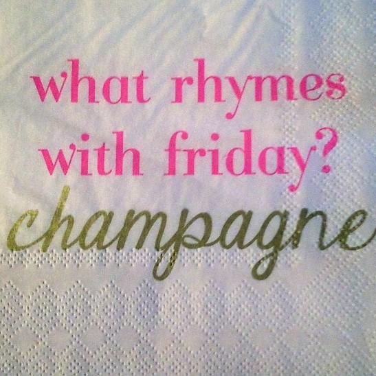 champagne sign napkin